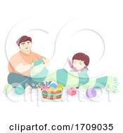 Kid Girl Dad Scarf Crochet Illustration