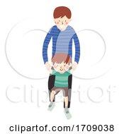 Kid Boy Father Son Step On Foot Illustration