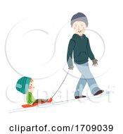 Kid Boy Man Snow Sled Illustration