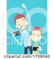 Poster, Art Print Of Kid Boy Dad Mobile Game Playing Illustration