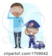 Poster, Art Print Of Kid Boy Man Role Play Police Citizen Illustration