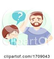Kid Boy Dad Man Verb Ask Illustration