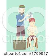 Poster, Art Print Of Man Shaman Ayahuasca Flower Bath Illustration