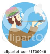 Man Shaman Ayahuasca Smoking Illustration