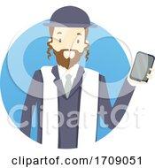 Man Rabbi Mobile Phone Illustration