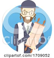 Poster, Art Print Of Man Rabbi Torah Illustration