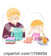 Dad Teach Kid Girl Fold Clothes Illustration