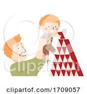 Kid Boy Dad Man Build Card Tower Illustration