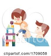 Poster, Art Print Of Kid Boy Dad Man Building Blocks Illustration
