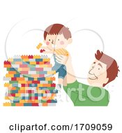 Kid Boy Dad Build Plastic Blocks Illustration