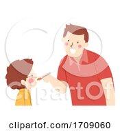 Kid Boy Dad Drink Syrup Medicine Illustration