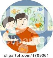 Kid Boy Dad Fish Pet Store Illustration