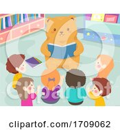 Kids Bear Read Book Class Illustration