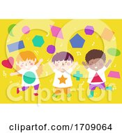 Poster, Art Print Of Kids Dance Shapes Illustration