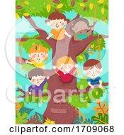 Kids Happy Tree Waving Illustration