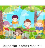 Kids Learn Nature Books Notes Glass Illustration