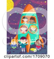 Kids Moon Space Ship Study Illustration