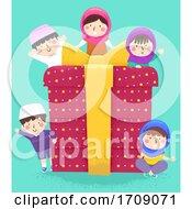 Kids Muslim Gift Box Waving Illustration