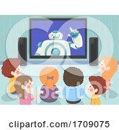 Kids Robot Screen Study Teach Illustration