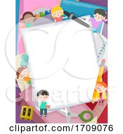 Kids School Supplies Paper Frame Illustration