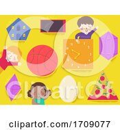 Poster, Art Print Of Kids Shapes And Common Objects Illustration