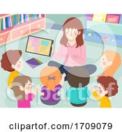 Kids Teacher Ebook Tablet Discuss Illustration