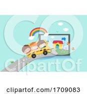 Kids Virtual School Tablet Bus Travel Illustration