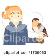 Girl Save Birds Of Prey Rescue Illustration