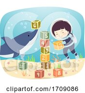 Kid Boy Underwater Play Dolphin Illustration