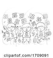 Kids Numbers Dance Coloring Illustration