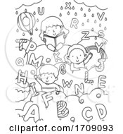 Kids Alphabet Sweets Coloring Illustration