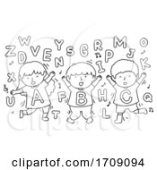 Poster, Art Print Of Kids Alphabet Dancing Coloring Illustration