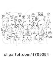 Kids Alphabet Dancing Coloring Illustration