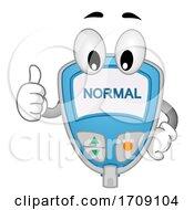 Mascot Blood Sugar Tester Ok Illustration