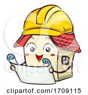 Mascot House Blue Print Illustration