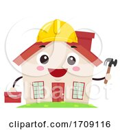 Mascot House Hard Hat Tool Box Illustration