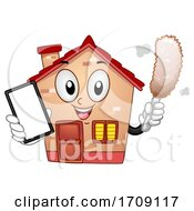 Mascot Cleaning Service Home Dusting Illustration