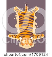 Mascot Sad Tiger Skin Rug Illustration