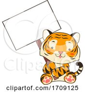 Mascot Tiger Hold Signboard Illustration
