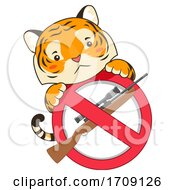 Mascot Tiger Stop Killing Illustration