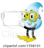 Mascot Water Drop Swimmer Hold Board Illustration