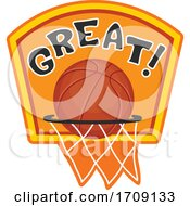 Poster, Art Print Of Basketball Over A Hoop With Great Text