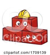 Mascot Brick Hard Hat Illustration