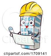 Mascot Building Hard Hat Blue Print Illustration