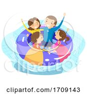 Stickman Family Pool Flotation Illustration