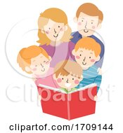 Kid Boy Read Book Family Illustration