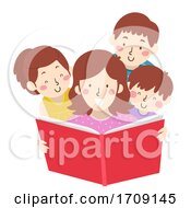 Kids Mom Read Book Illustration