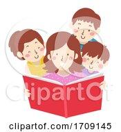 Kids Mom Read Book Illustration