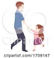 Kid Girl Man Father Daughter Dance Illustration