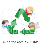 Kids Recycle Plastic Paper Glass Illustration